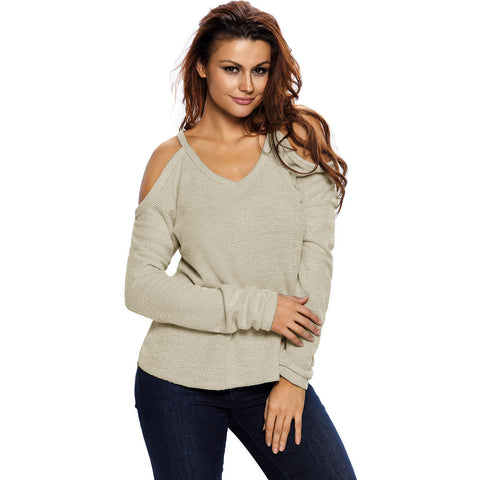 Apricot Cold Shoulder Knit Sweater LAVELIQ