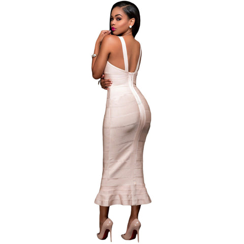 Apricot Fishtail Luxe Bandage Dress LAVELIQ