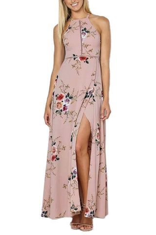 Apricot Floral Cutout Back Halter Split Maxi Boho Dress LAVELIQ