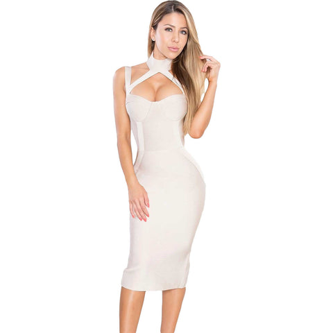 Apricot High Neck Bandage Dress LAVELIQ SALE