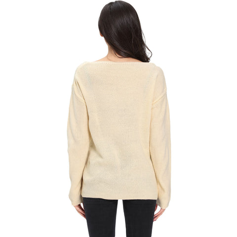 Apricot Long Sleeve Plunge Jumper Top LAVELIQ
