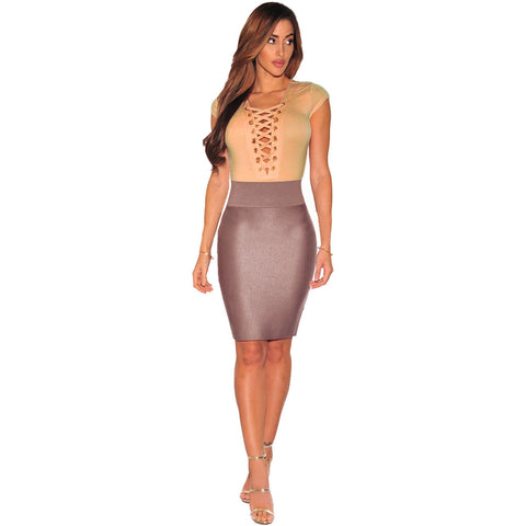 Apricot Lace Up Cap Sleeves Bodysuit LAVELIQ