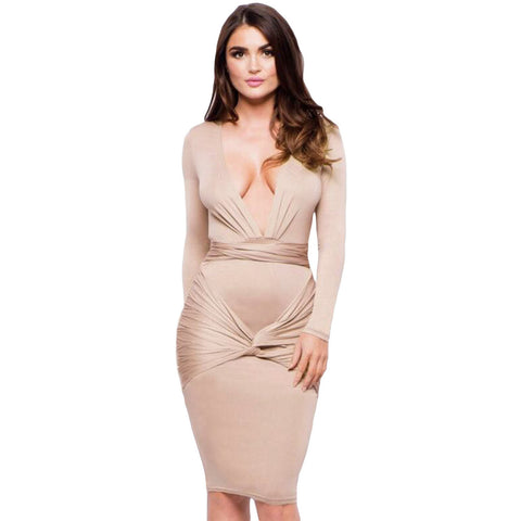Apricot Long Sleeve Knee Length Dress LAVELIQ