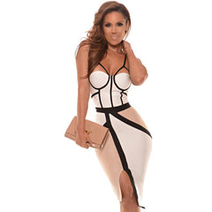 Apricot White Cutout Bandage Dress With Black Lines LAVELIQ  - LAVELIQ