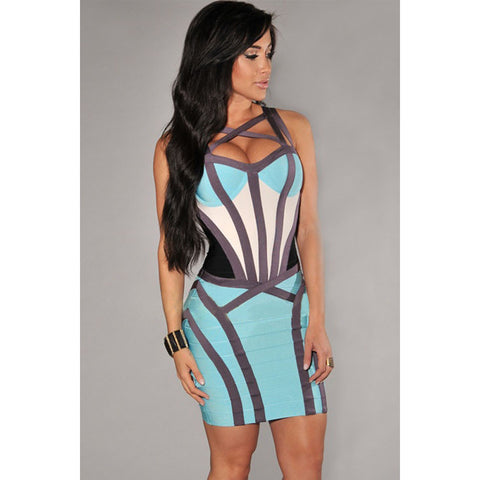 Aqua Strappy Sleeveless Bandage Dress LAVELIQ SALE