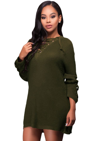 Army Green Crisscross Knitted Long Sweater LAVELIQ