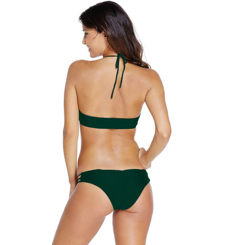 Army Green High Neck Bathing Suit Sale LAVELIQ