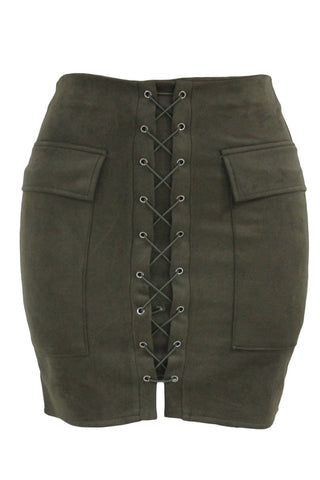 Army Green Suede Lace Up Mini Skirt LAVELIQ