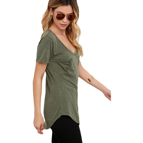 Army Green Summer Pocket T-Shirt Sale LAVELIQ