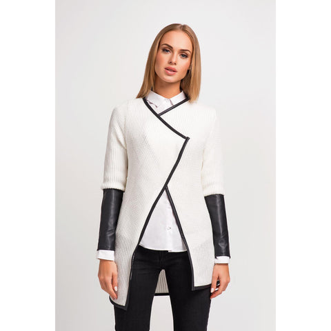 Ecru Stylish Cardigan With Eco-Leather Piping And Sleeves LAVELIQ