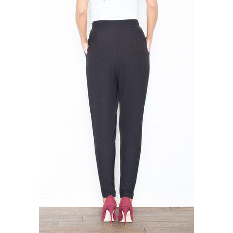 Black Casual Pants Narrow Legs Distorted Closure LAVELIQ