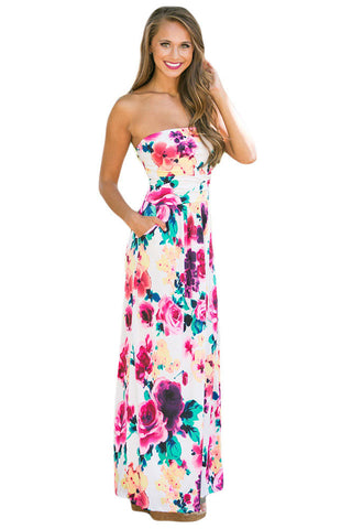 Beautiful Floral Print Strapless Maxi Boho Dress LAVELIQ