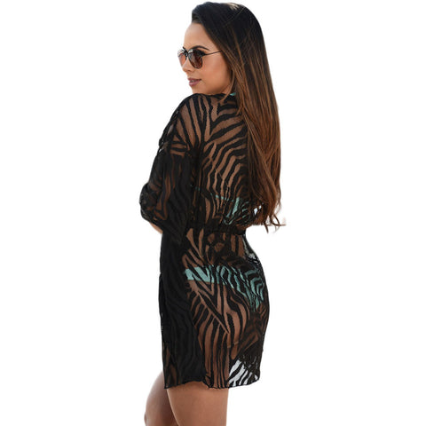 Black Animal Print Cover Up Dress LAVELIQ