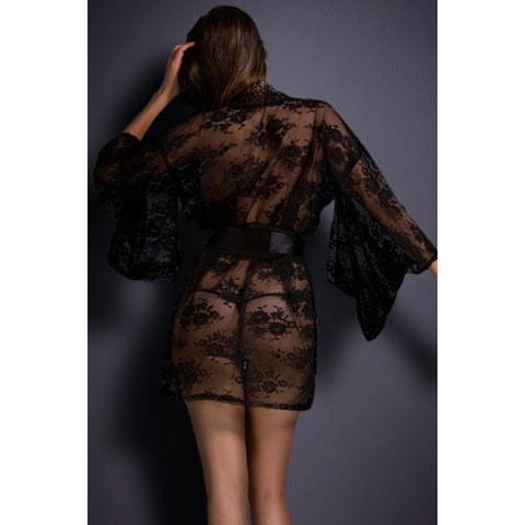 Black Belted Lace Nightwear LAVELIQ