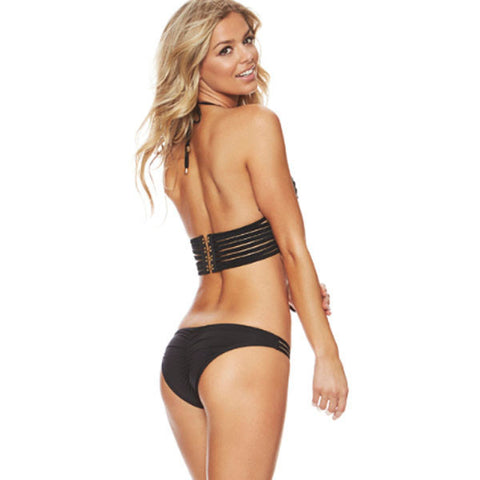 Black Binding Bikini Swimsuit Sale LAVELIQ