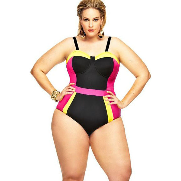 Fitted Black Plus Size Swimsuit LAVELIQ - LAVELIQ - 1