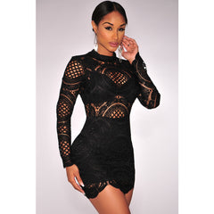 Black Lace High Neck Mini Dress LAVELIQ - LAVELIQ - 1