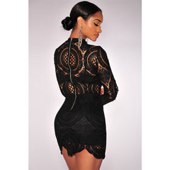 Black Lace High Neck Mini Dress LAVELIQ - LAVELIQ - 2