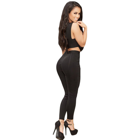 Black Cross Bandage Jumpsuit LAVELIQ