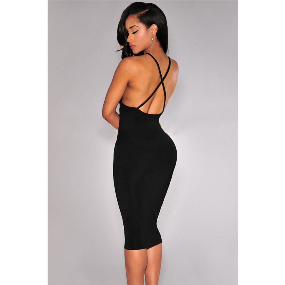 Black Crisscross Back Dress Sale LAVELIQ - LAVELIQ - 4