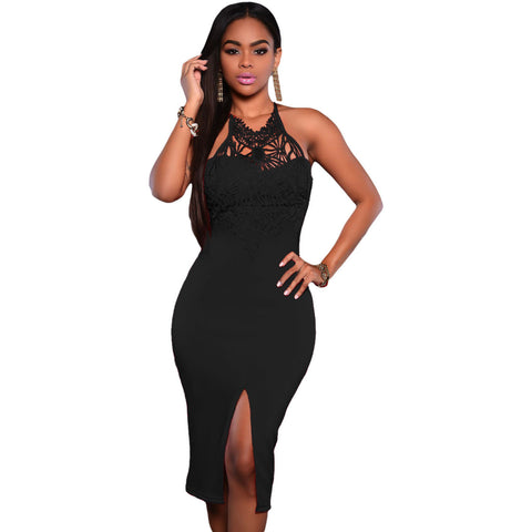 Black Embroidered Top Party Dress Sale LAVELIQ