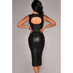 Black Key-Hole Back Padded Midi Dress Sale LAVELIQ - LAVELIQ - 2