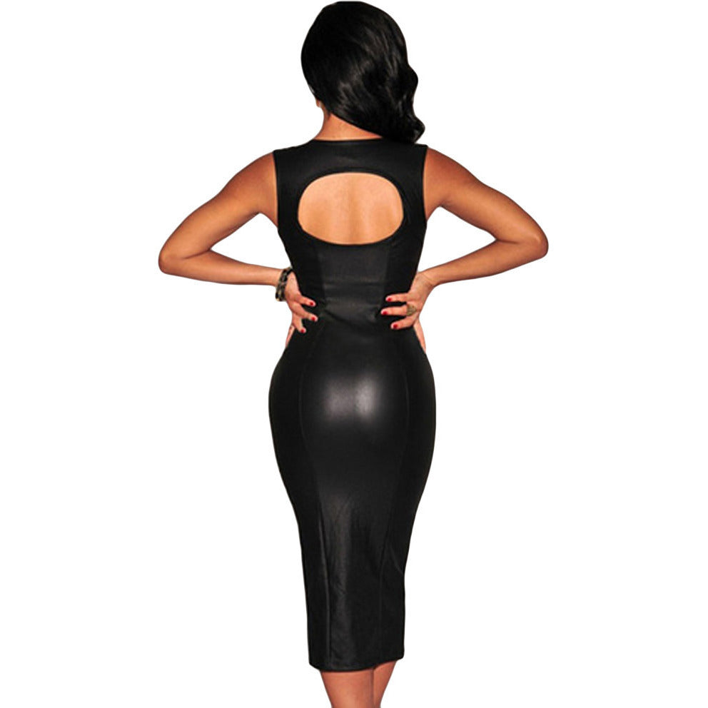 Black Key-Hole Back Padded Midi Dress Sale LAVELIQ - LAVELIQ - 3