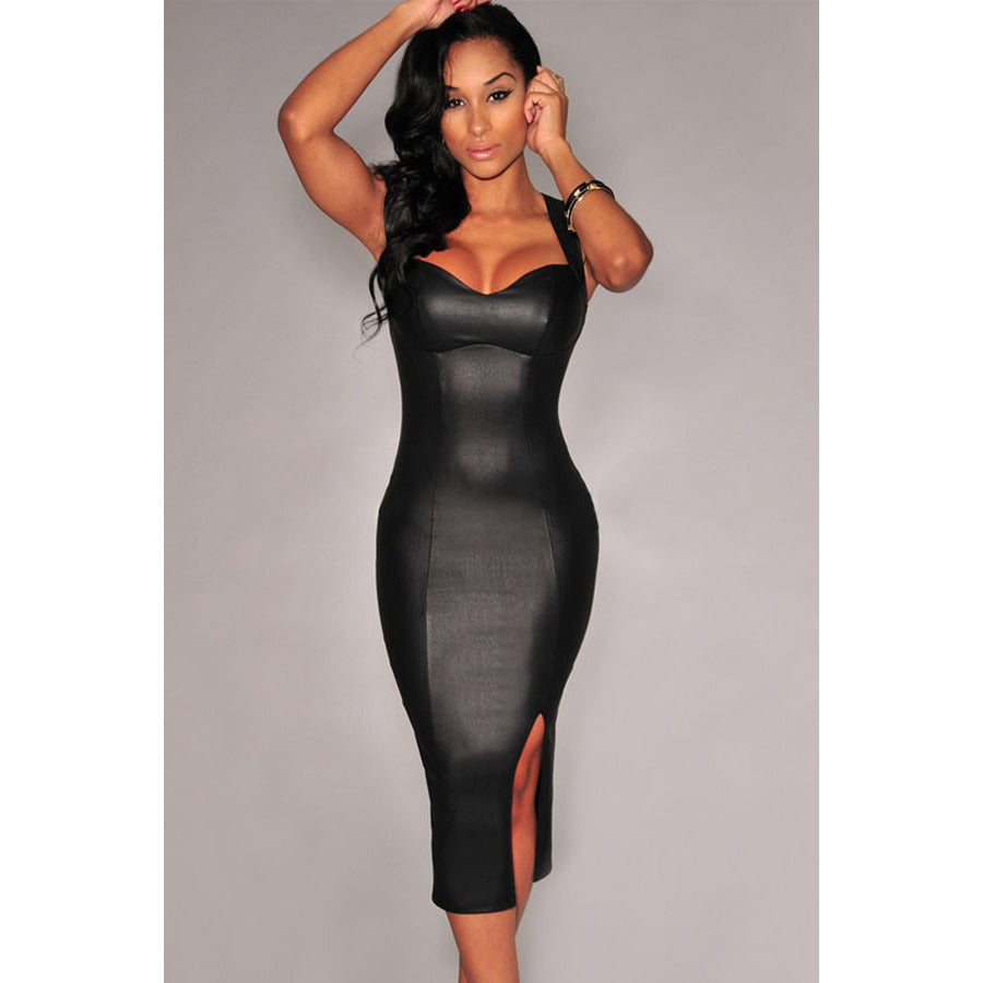 Black Key-Hole Back Padded Midi Dress Sale LAVELIQ - LAVELIQ - 4