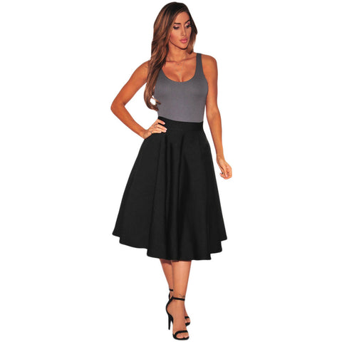 Black Flared A-Line Midi Skirt LAVELIQ