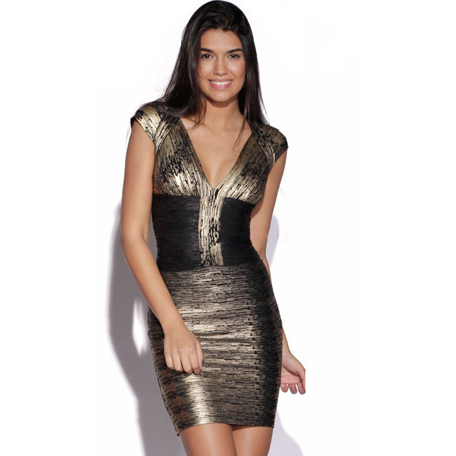 Black Above Knee Mini Celeb Bandage Dress LAVELIQ SALE - LAVELIQ - 1