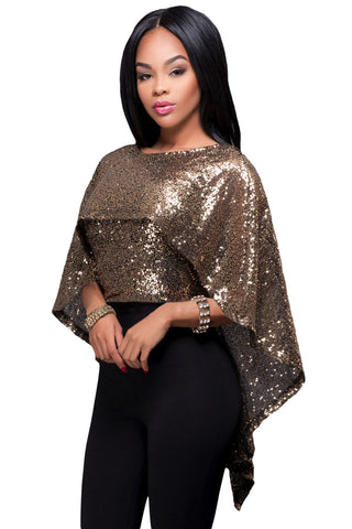 Blush Sequins Cape Top LAVELIQ