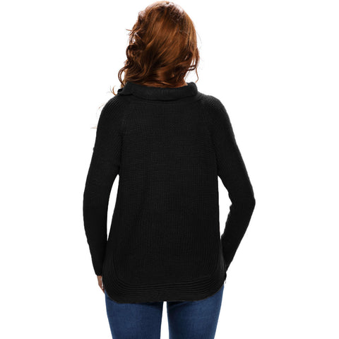 Black High Neck Pullover Side Sweater LAVELIQ