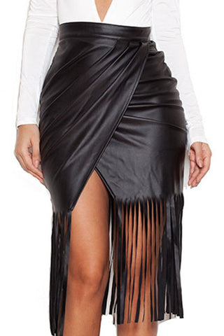 Black High Waist Faux Leather Fringed Skirt LAVELIQ