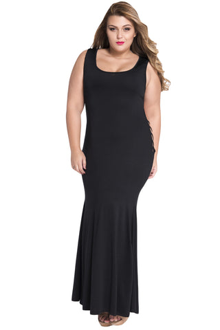 Black Hollowed Back Maxi Dress LAVELIQ