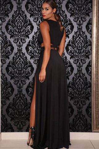 Black Jersey Craving Maxi Dress LAVELIQ