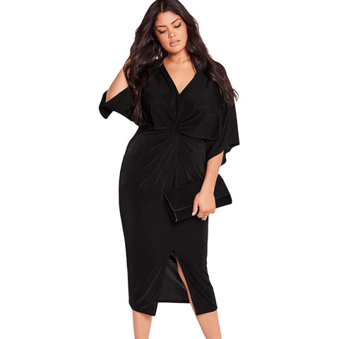 Black Knotted Pleated Front Plus Size Midi Dress LAVELIQ