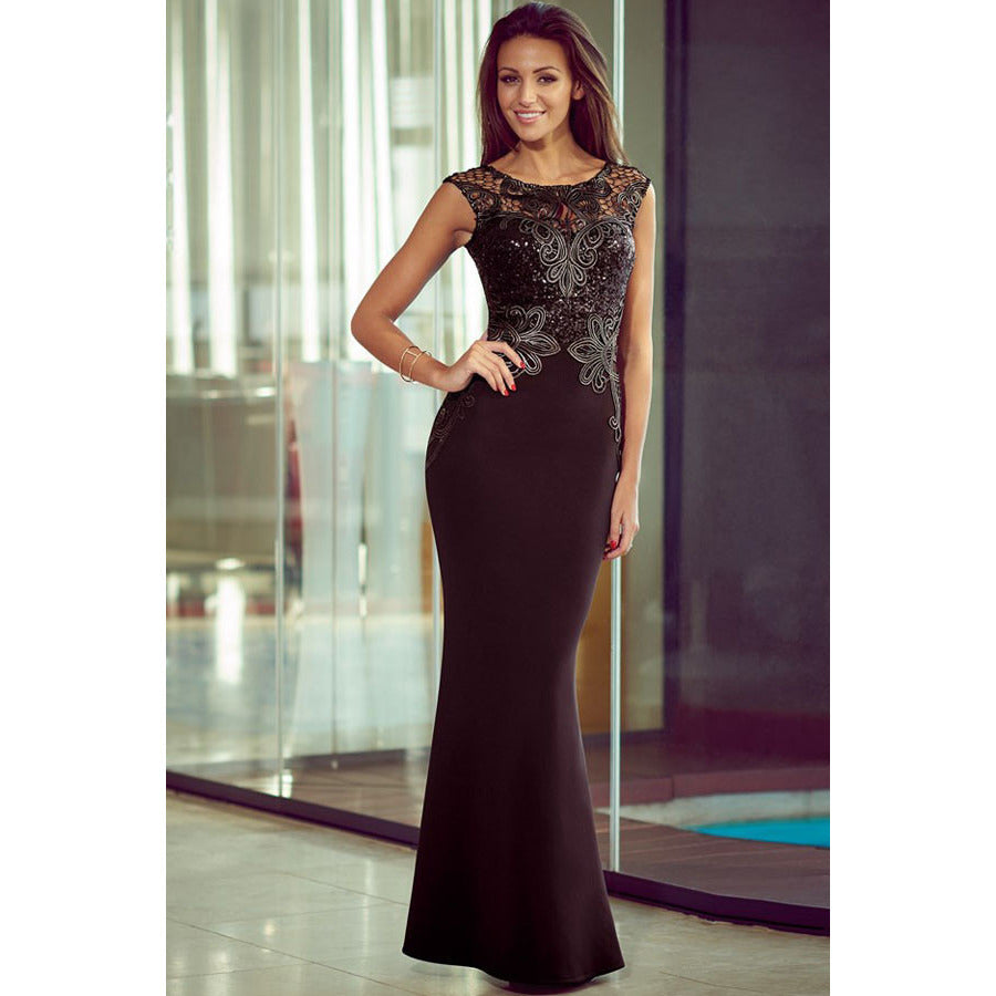 Black Lace Mermaid Maxi Dress LAVELIQ - LAVELIQ - 1