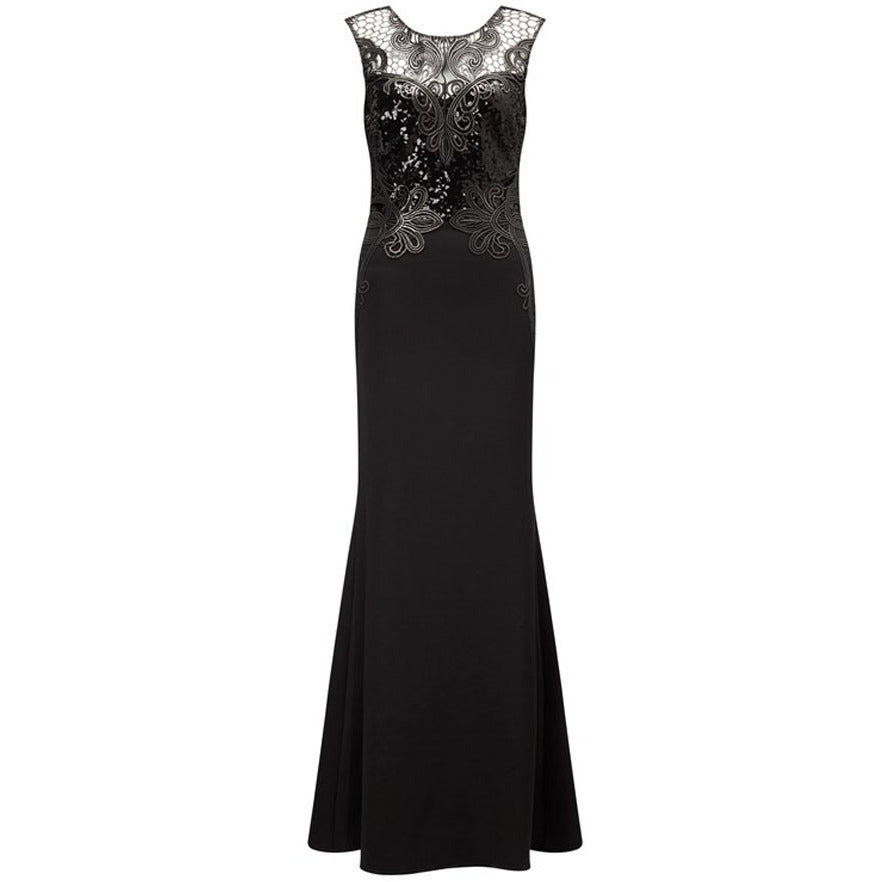 Black Lace Mermaid Maxi Dress LAVELIQ - LAVELIQ - 2