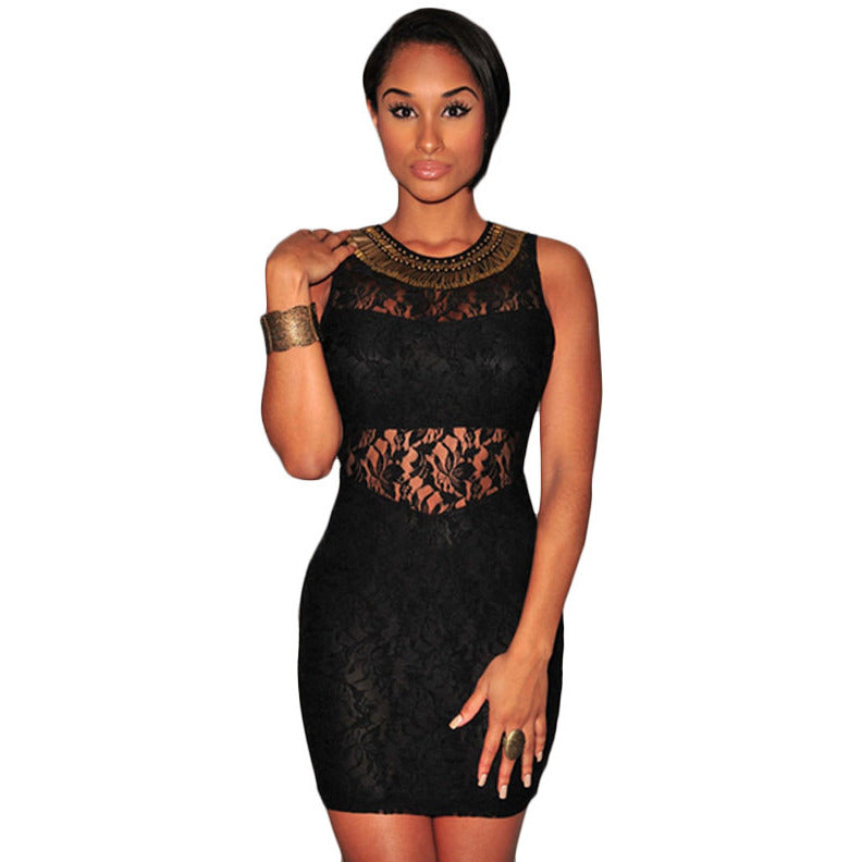 Stylish Black Lace Off Shoulder Mini Dress LAVELIQ - LAVELIQ - 1