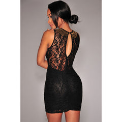 Stylish Black Lace Off Shoulder Mini Dress LAVELIQ - LAVELIQ - 2