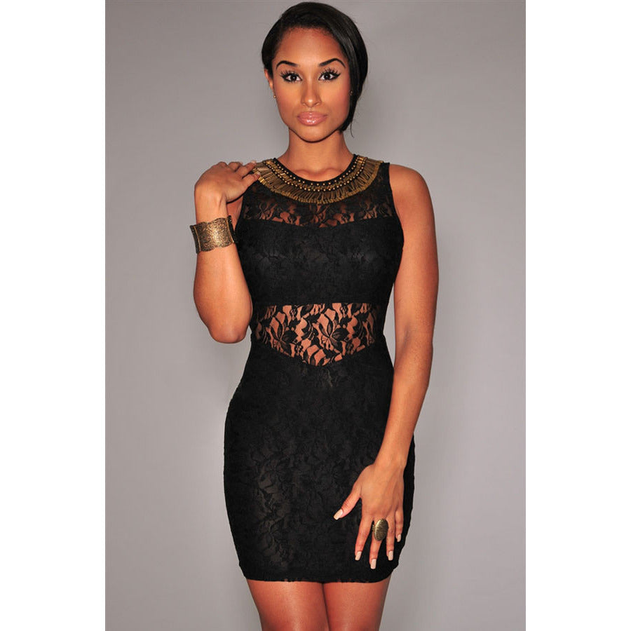 Stylish Black Lace Off Shoulder Mini Dress LAVELIQ - LAVELIQ - 3