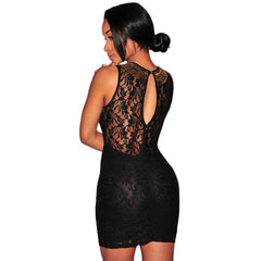 Stylish Black Lace Off Shoulder Mini Dress LAVELIQ - LAVELIQ - 4