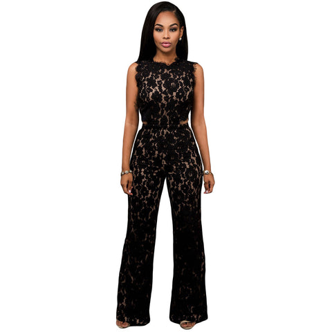 Black Lace Nude Cutout Jumpsuit LAVELIQ