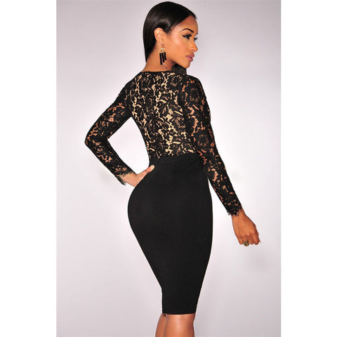 Black Lace Nude Long Sleeves Dress Sale LAVELIQ