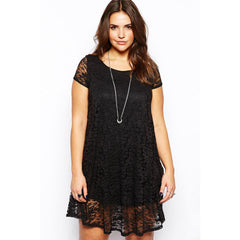 Black Lace Plus Size Mini Dress LAVELIQ - LAVELIQ - 1