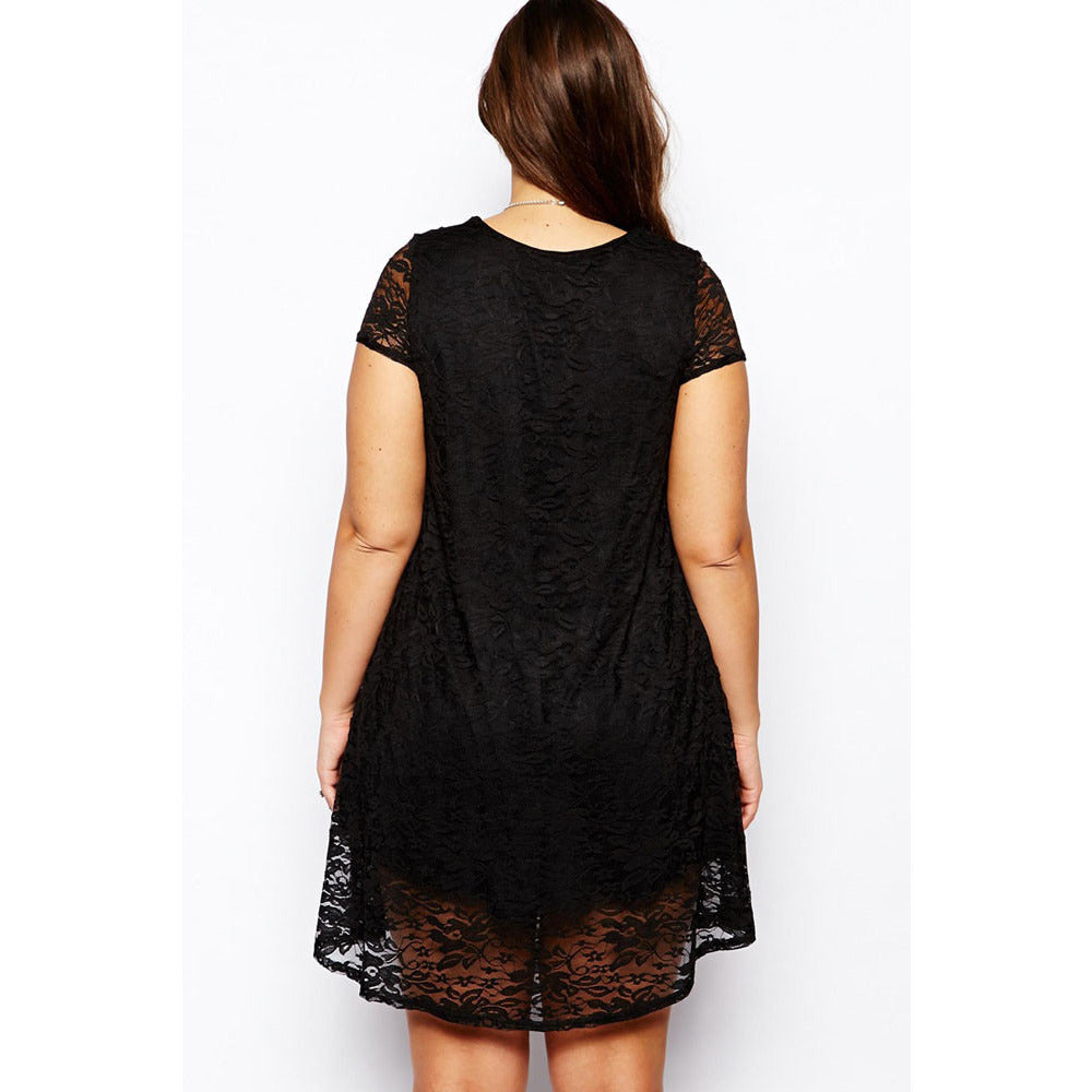 Black Lace Plus Size Mini Dress LAVELIQ - LAVELIQ - 2