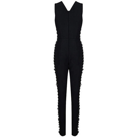 Black Lace Up Bandage Jumpsuit LAVELIQ