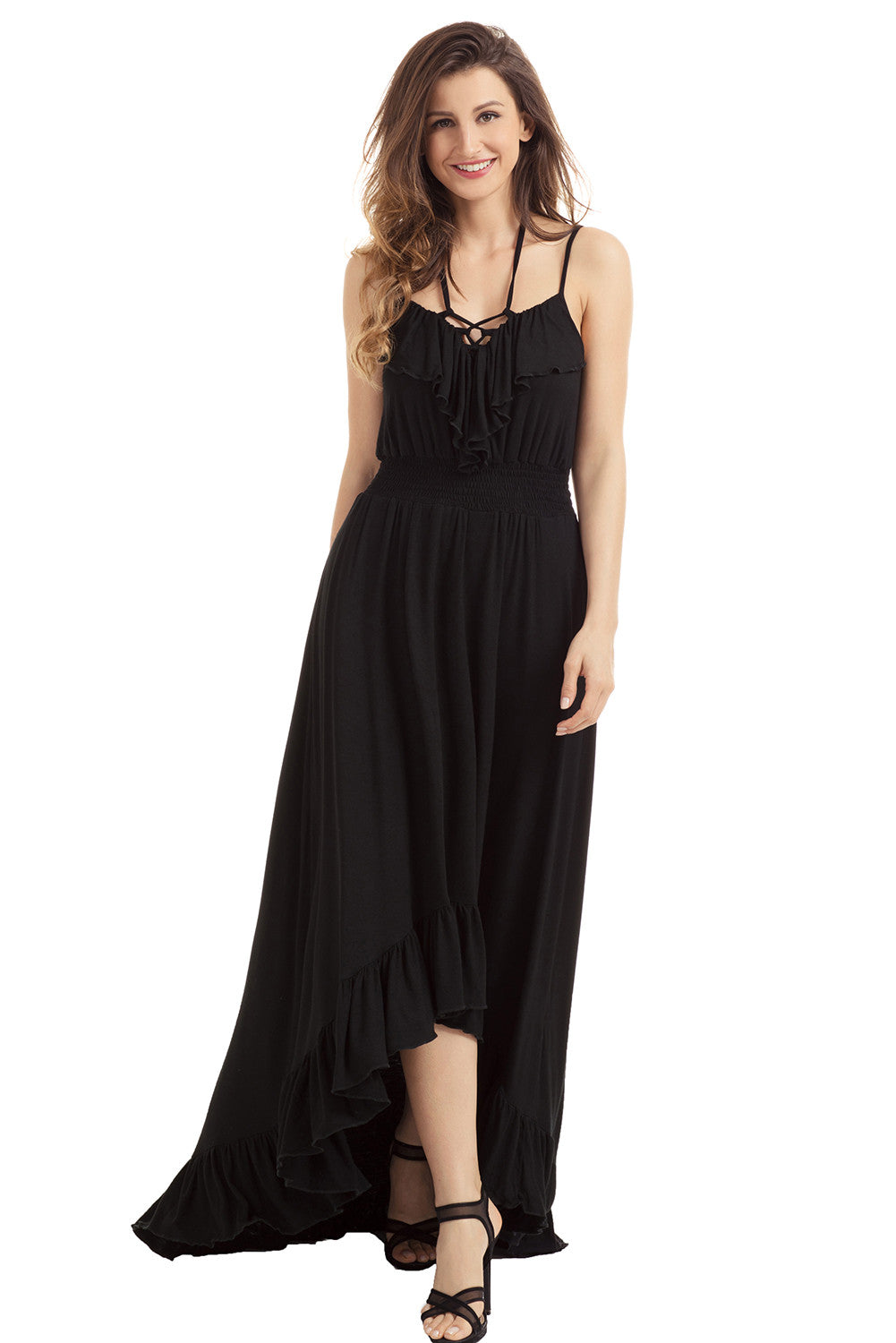 Black Lace Up V Neck Ruffle Trim Hi-Low Maxi Dress LAVELIQ