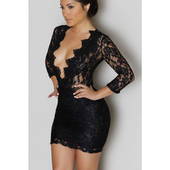 Black Lace V-Neck Mini Dress  Sale LAVELIQ - LAVELIQ - 1