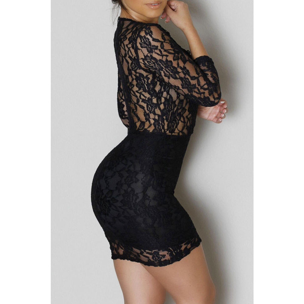Black Lace V-Neck Mini Dress  Sale LAVELIQ - LAVELIQ - 2